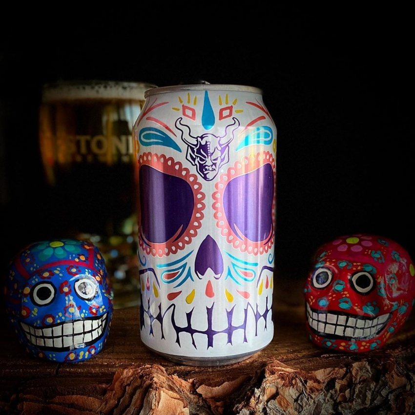 beer can with sugar skulls