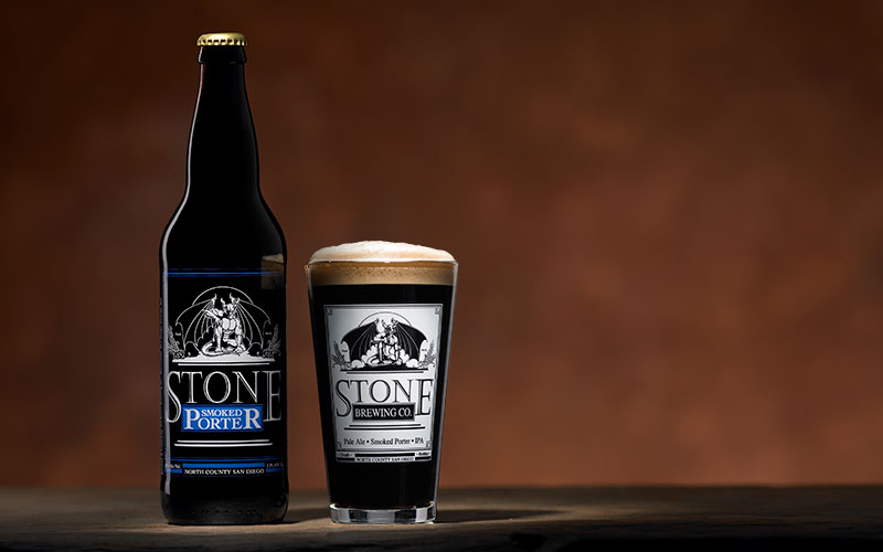 Stone smoked porter bottle and glass