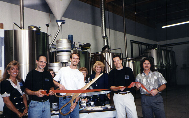 Cutting the ribbon on the brewery