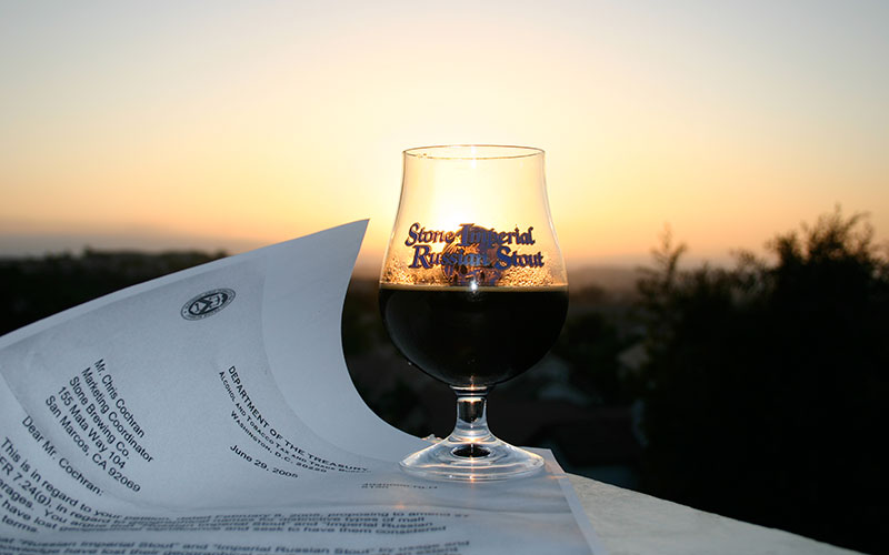 Glass of IRS in the sunset