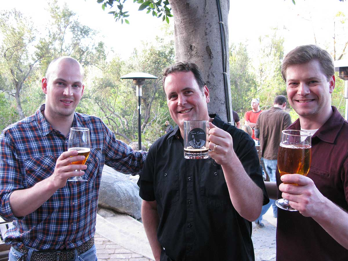 From left to right: Brewmaster James Watt from BrewDog, Head Brewer Mitch Steele from Stone, and Brewmaster Will Meyers from Cambridge Brewing Co.