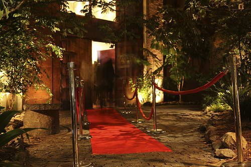 red carpet leading to the bistro