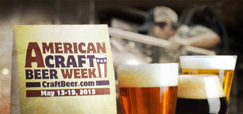 American Craft Beer Week Sign in front of glasses of beer