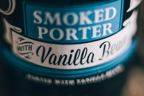 Stone smoked porter with vanilla bean label
