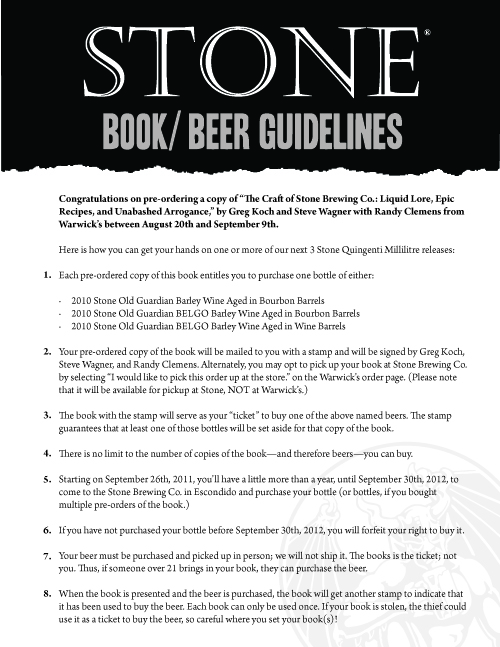 Buy A Book Buy A Beer Stone Brewing