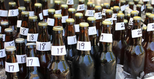 numbered bottles at the AHA rally