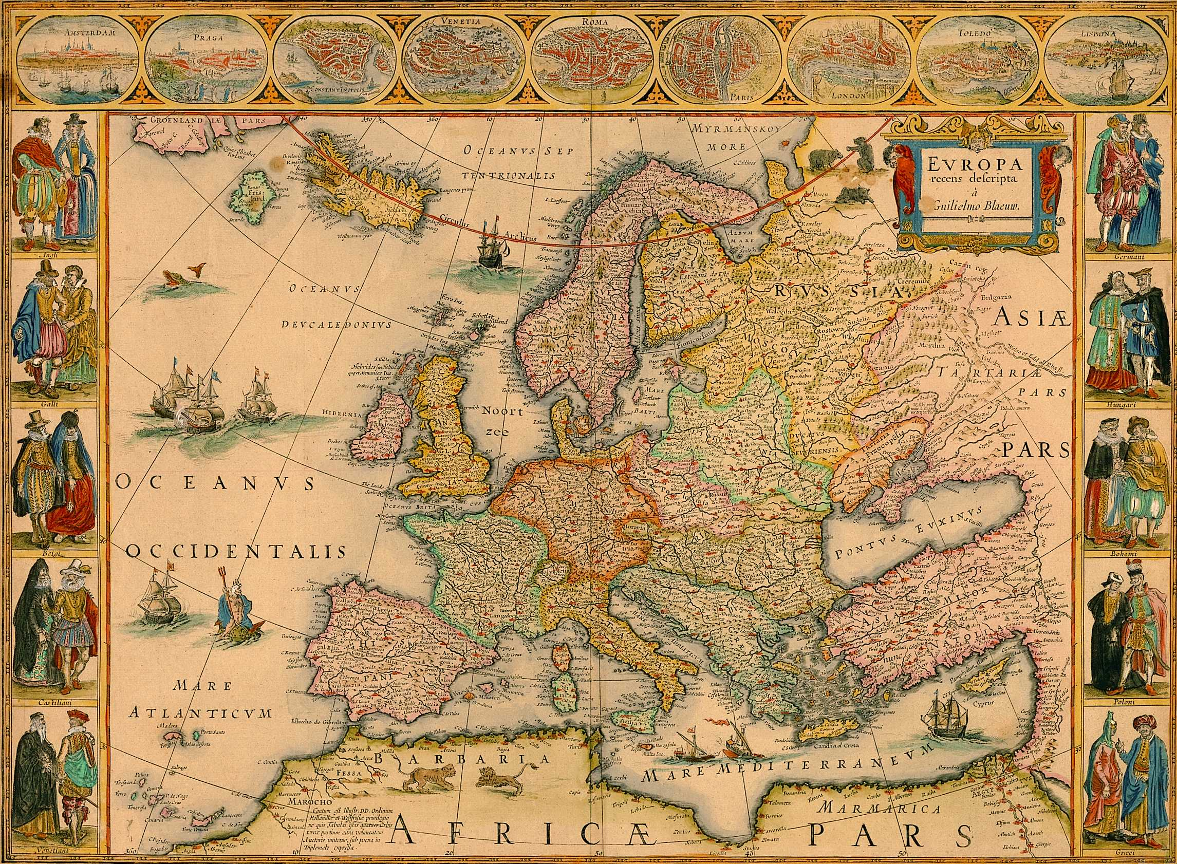 old-timey map of europe