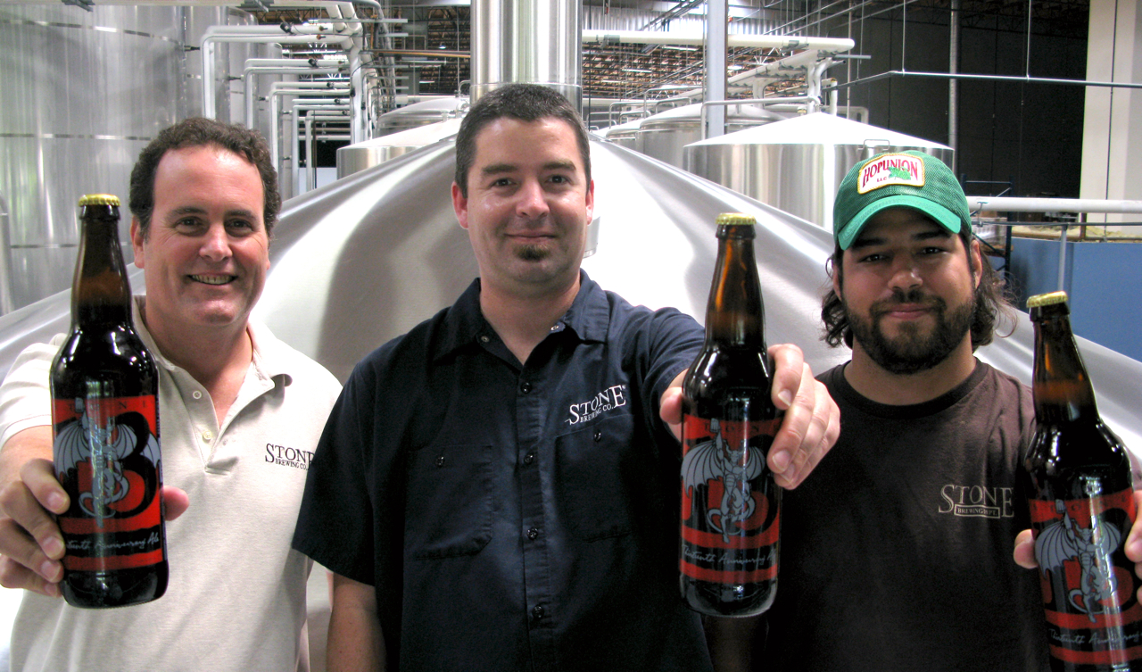 Brewers Mitch Steele, John Egan, and Tom Garcia showing off their creation