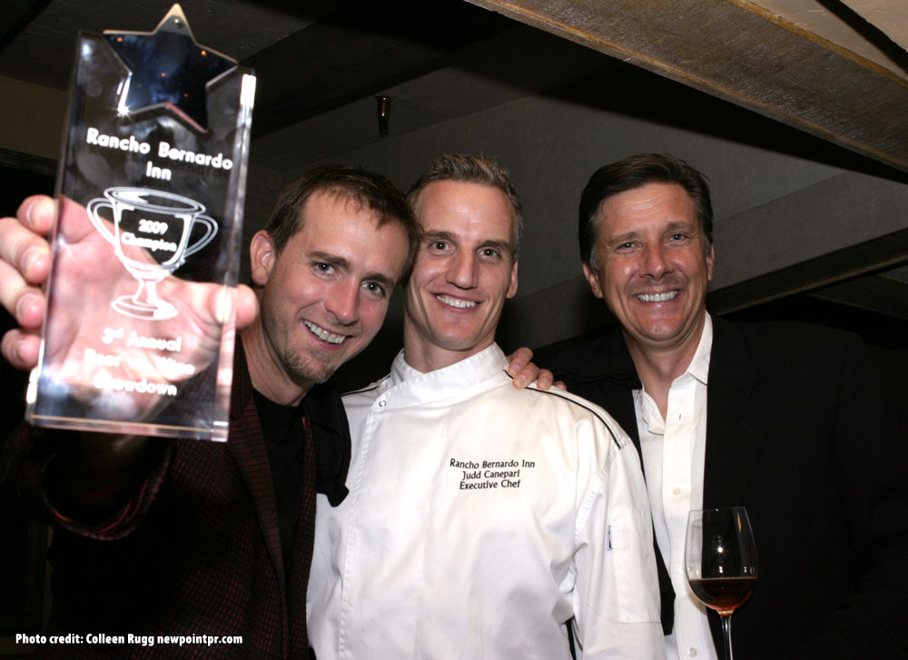 Winner Greg Koch with Executive Chef Judd Canepari and Barry Wiss of Napa's Trinchero Family Estates