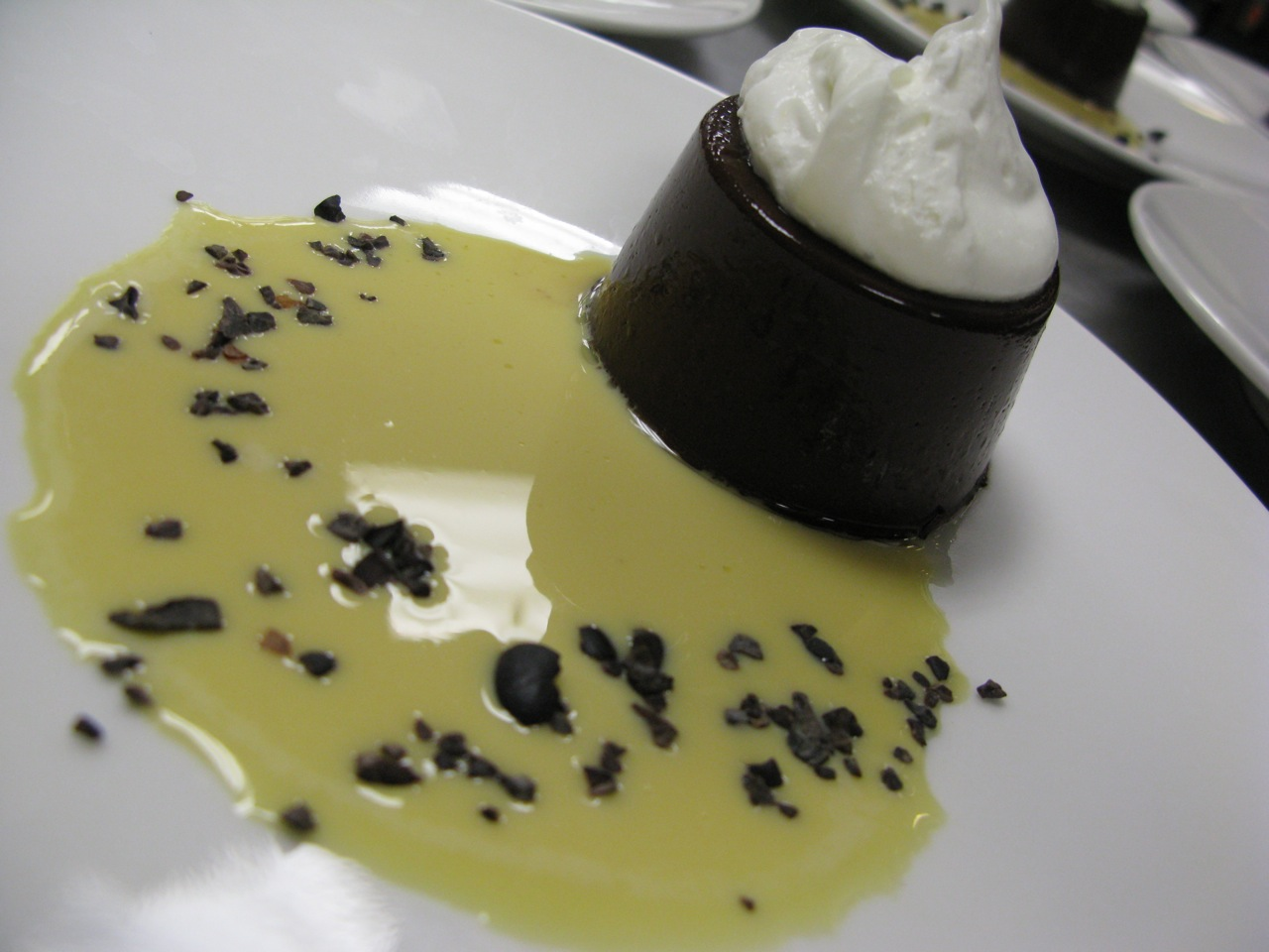 Dark Chocolate-malted Panna Cotta with Barley-malt Anglaise, paired with Stone 12th Anniversary Bitter Chocolate Oatmeal Stout