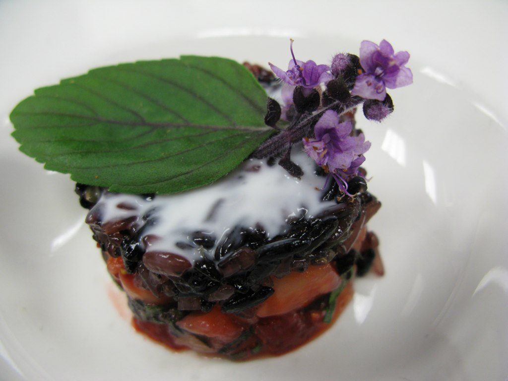 Strawberry and African Blue Basil Stack with Black Sticky Rice - paired with Dupont Saison