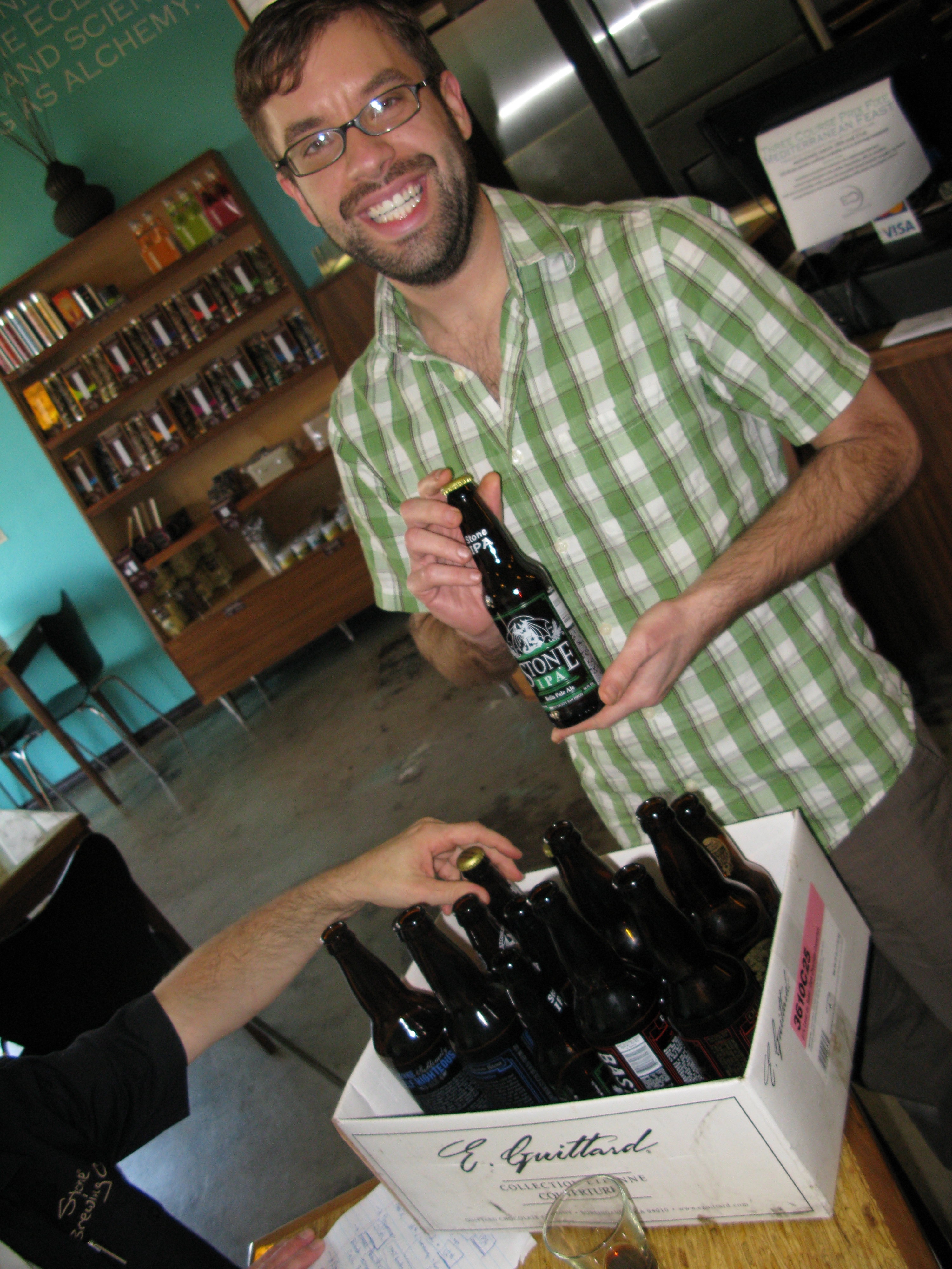 Eclipse Chocolat Owner, Will Gustwiller, now the proud owner of leftover Stone beer