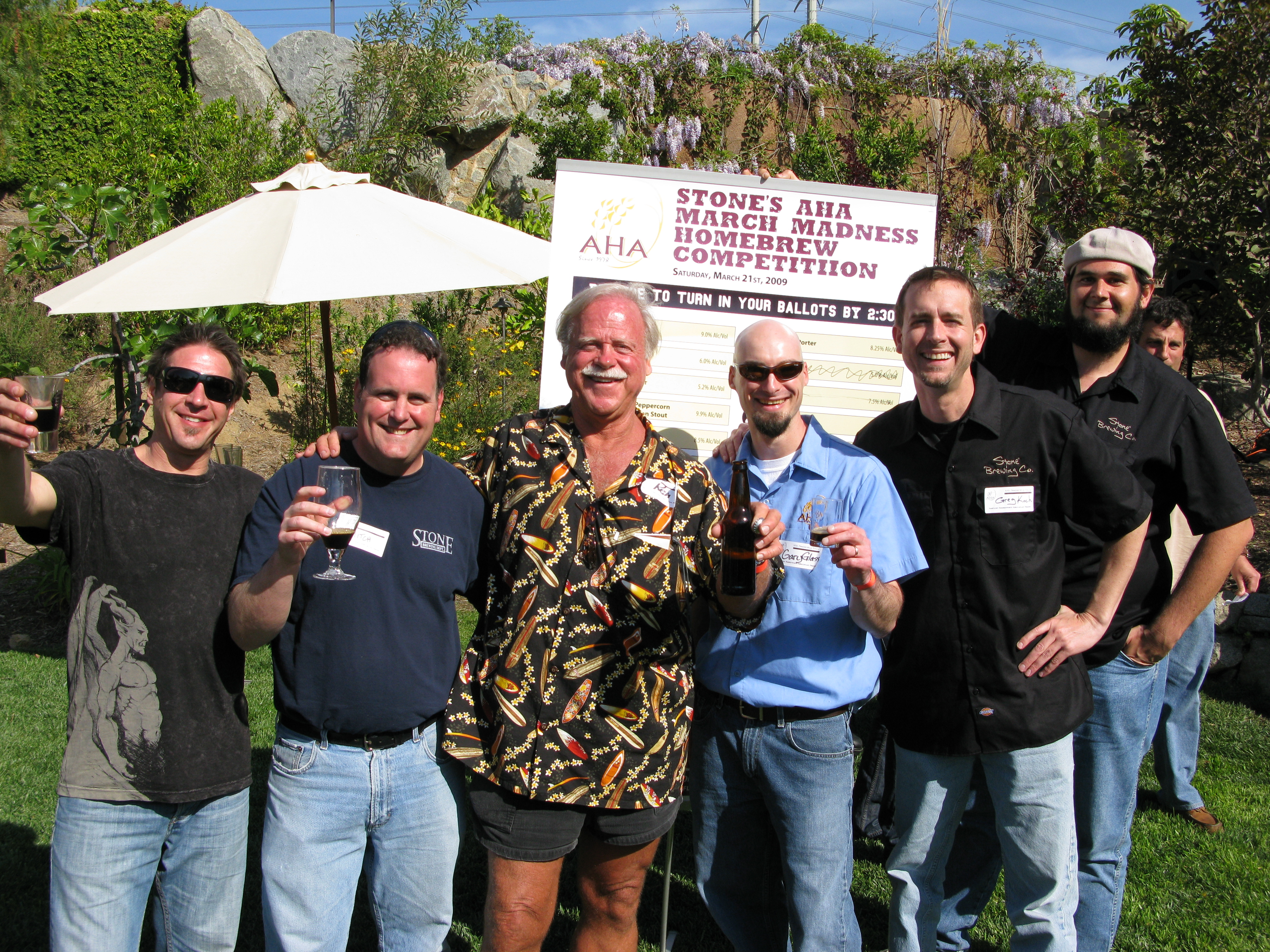 From left to right: Chris Cochran, Mitch Steele, Ken Schmidt, Gary Glass, Greg Koch, Mike Palmer