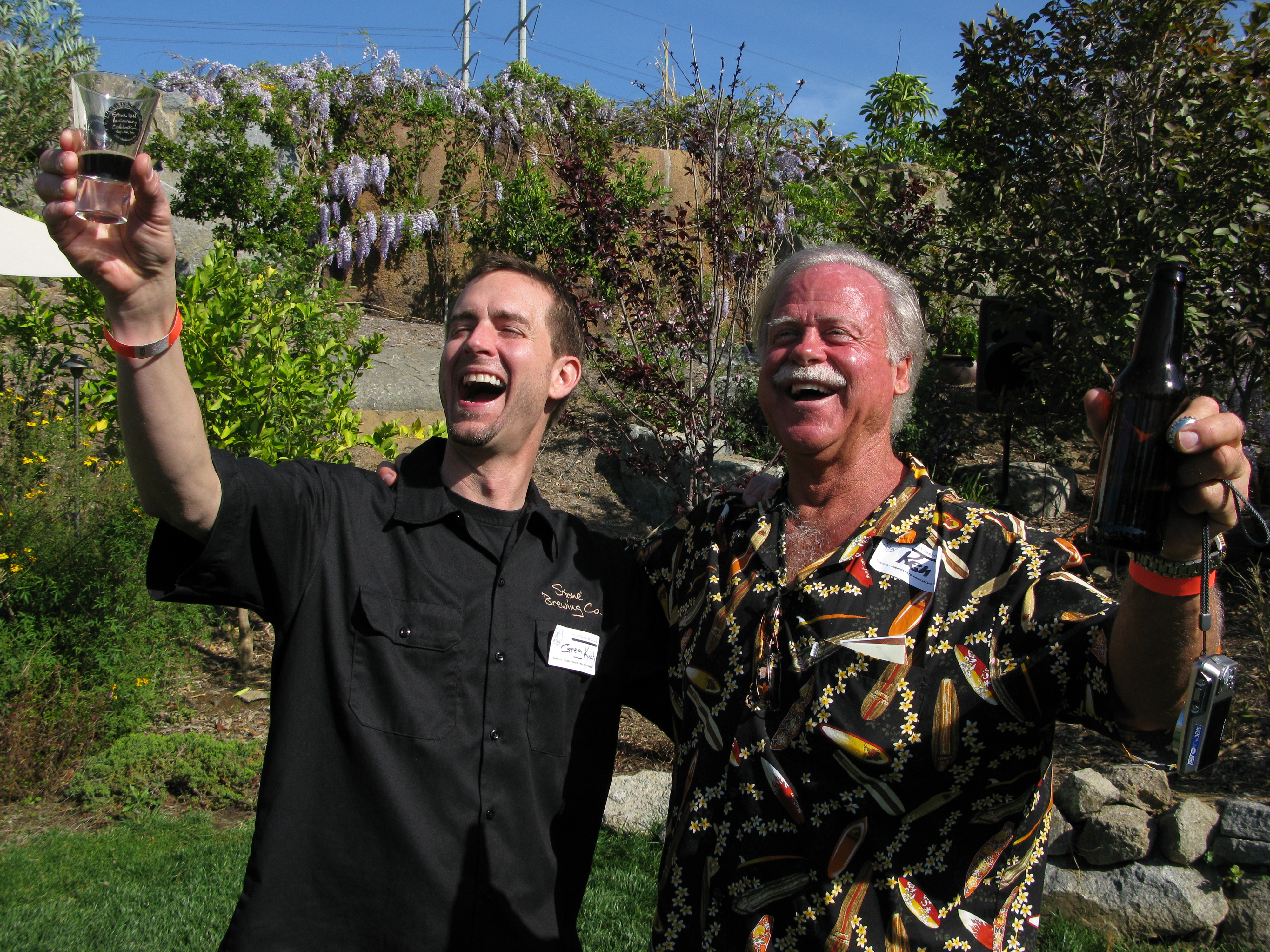 Winner Ken Schmidt (right) celebrating with Stone CEO Greg Koch