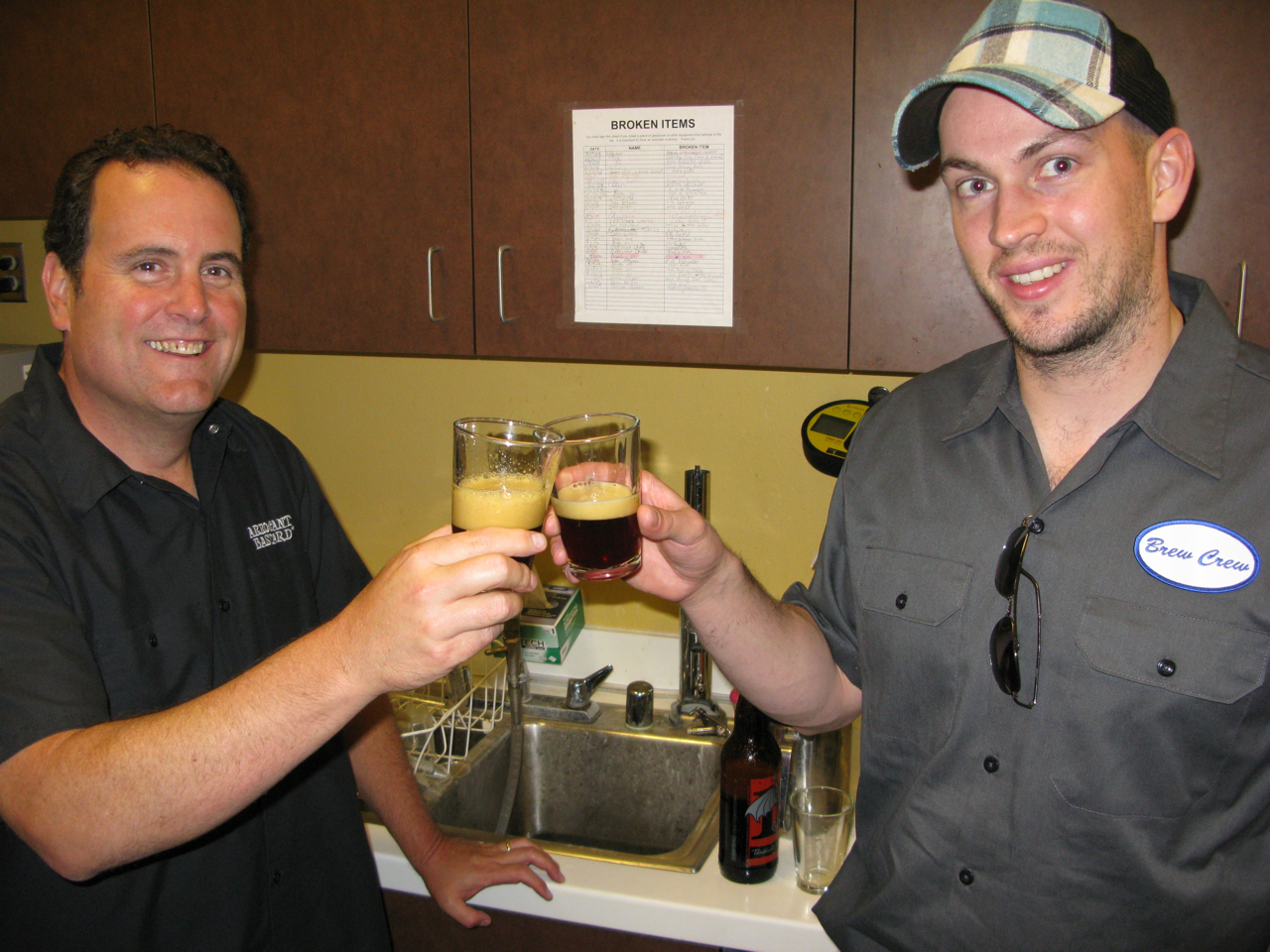 Mitch and James tasting two versions of the beer when James was in town on June 12th. They decided to go ahead with a second dry-hopping with Sorachi Ace hops.