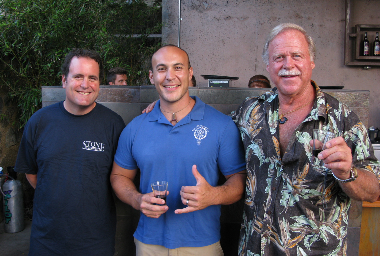Stone Head Brewer Mitch Steele, Garrett Marrero from Maui Brewing Co., and talented homebrewer Ken Schmidt.