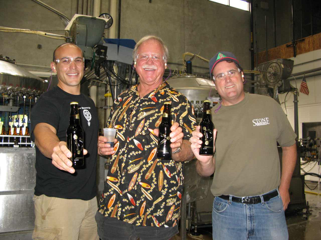 The masterminds behnd the beer (from left to right): Garrett Marrero from Maui Brewing Co., Homebrewer Ken Schmidt, and Stone Head Brewer Mitch Steele