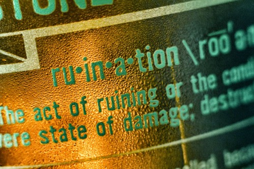 close-up on ruination bottle label