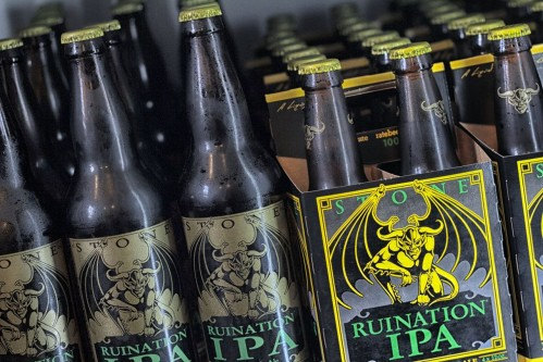 Stone Ruination IPA bombers and six-packs