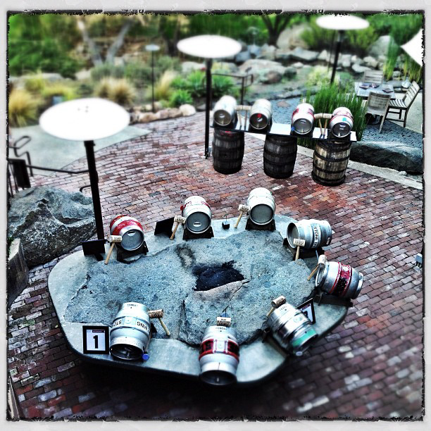 12 casks in the garden of Stone Brewing World Bistro & Gardens