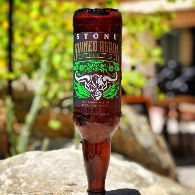 upside-down beer bottle
