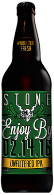 Stone Enjoy By 02.14.16 Unfiltered IPA bottle