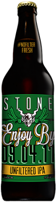 Stone Enjoy By 09.04.17 Unfiltered IPA bottle