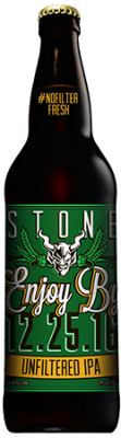 Stone Enjoy By 12.25.16 Unfiltered IPA bottle