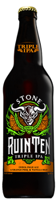 Stone RuinTen Triple IPA w/Orange Peel & Vanilla Bean bottle