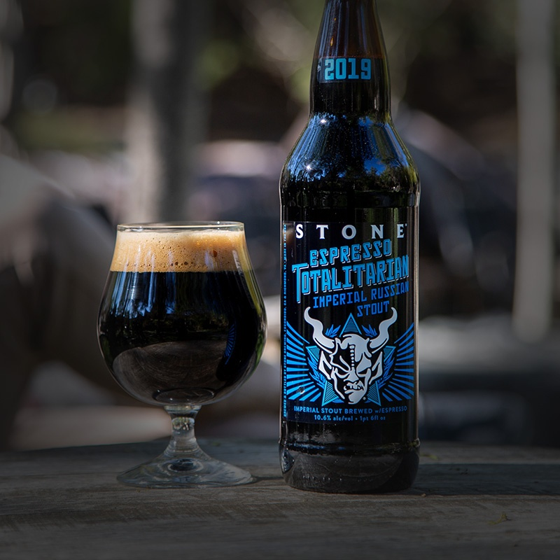 Stone Espresso Totalitarian Imperial Russian Stout bottle and glass