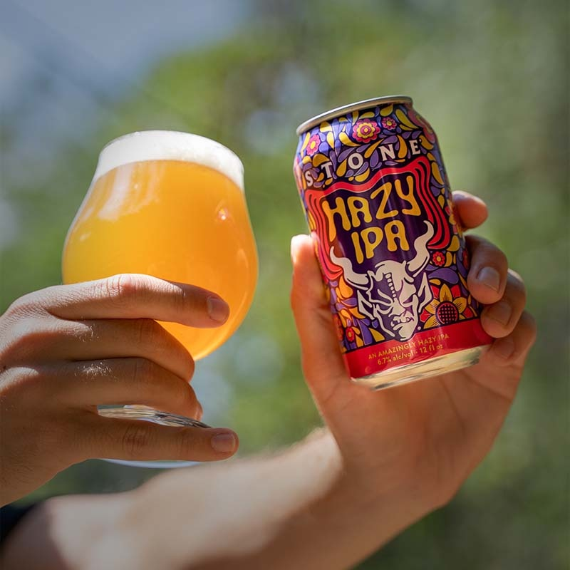 can and glass of Stone Hazy IPA