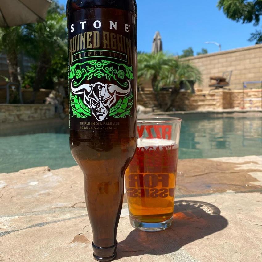 upside down bottle of beer