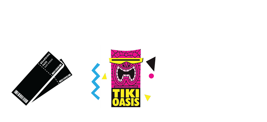 round trip airfare, two tikets to tiki oasis and tours of escondido and liberty station